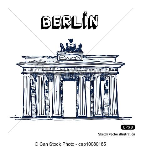 Vector of The Brandenburg gate in Berlin. Hand drawn vector.