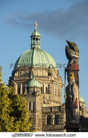 Picture of British Columbia Parliament Buildings dome and first.