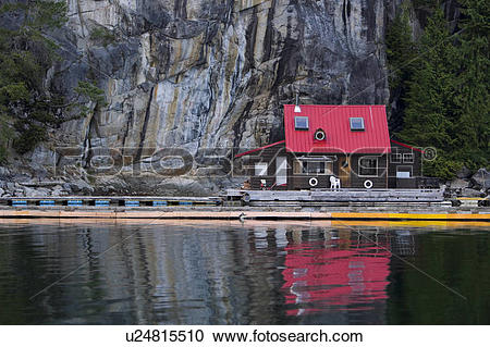 Stock Photography of A neat and picturesque floathouse, Gilford.