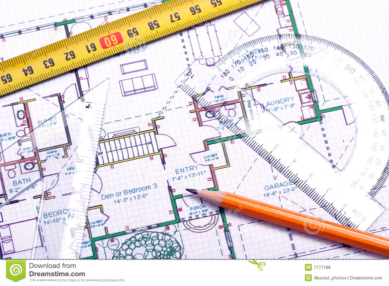 Floor Plan And Architect's Tools Stock Photo.