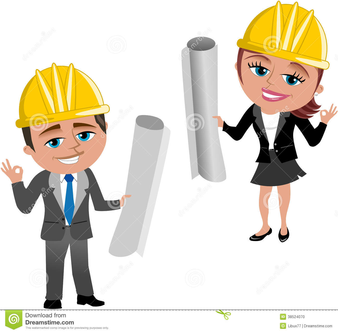 Woman and Man Architect Ok stock vector. Illustration of helmet.