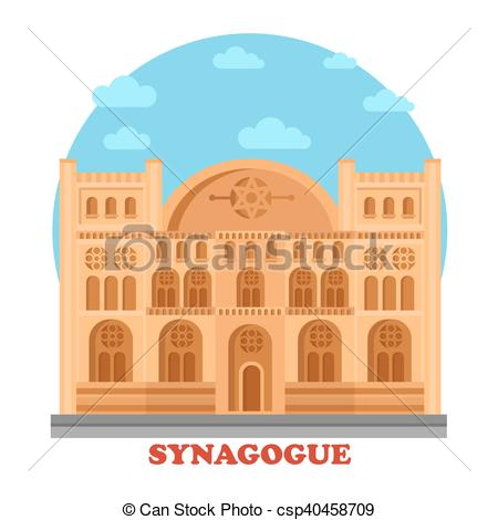 Vector Clipart of Synagogue or synagog architecture building.