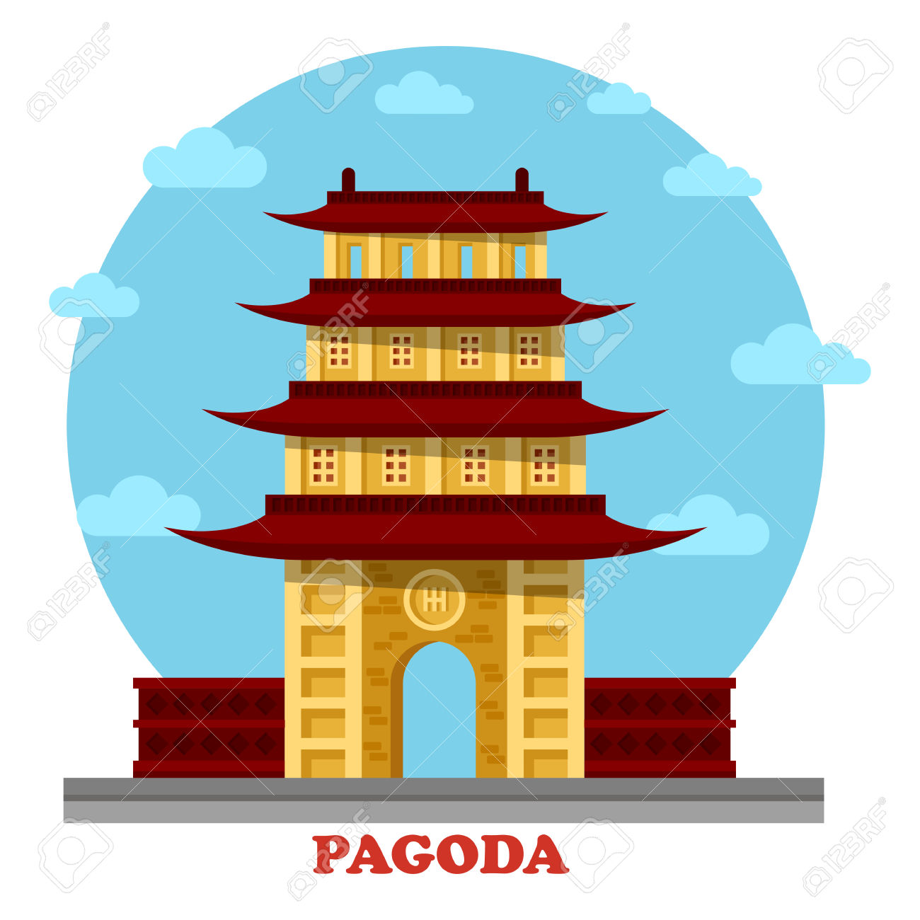 Religious Pagoda Or Tiered Tower With Eaves. Statue For Buddha.