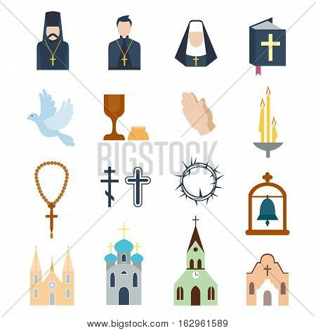 Christianity religion flat icons vector. Illustration of.