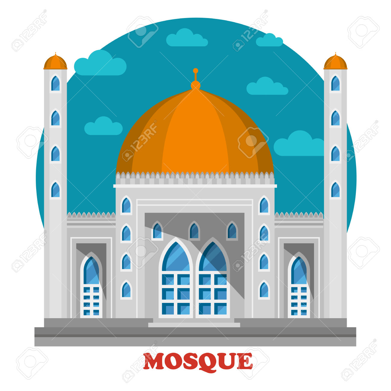 Arabian Islam Muslim Mosque With Domes Front Building View.