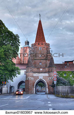 "Picture of ""Kreuztor city gate and Liebfrauenmuenster or Muenster."