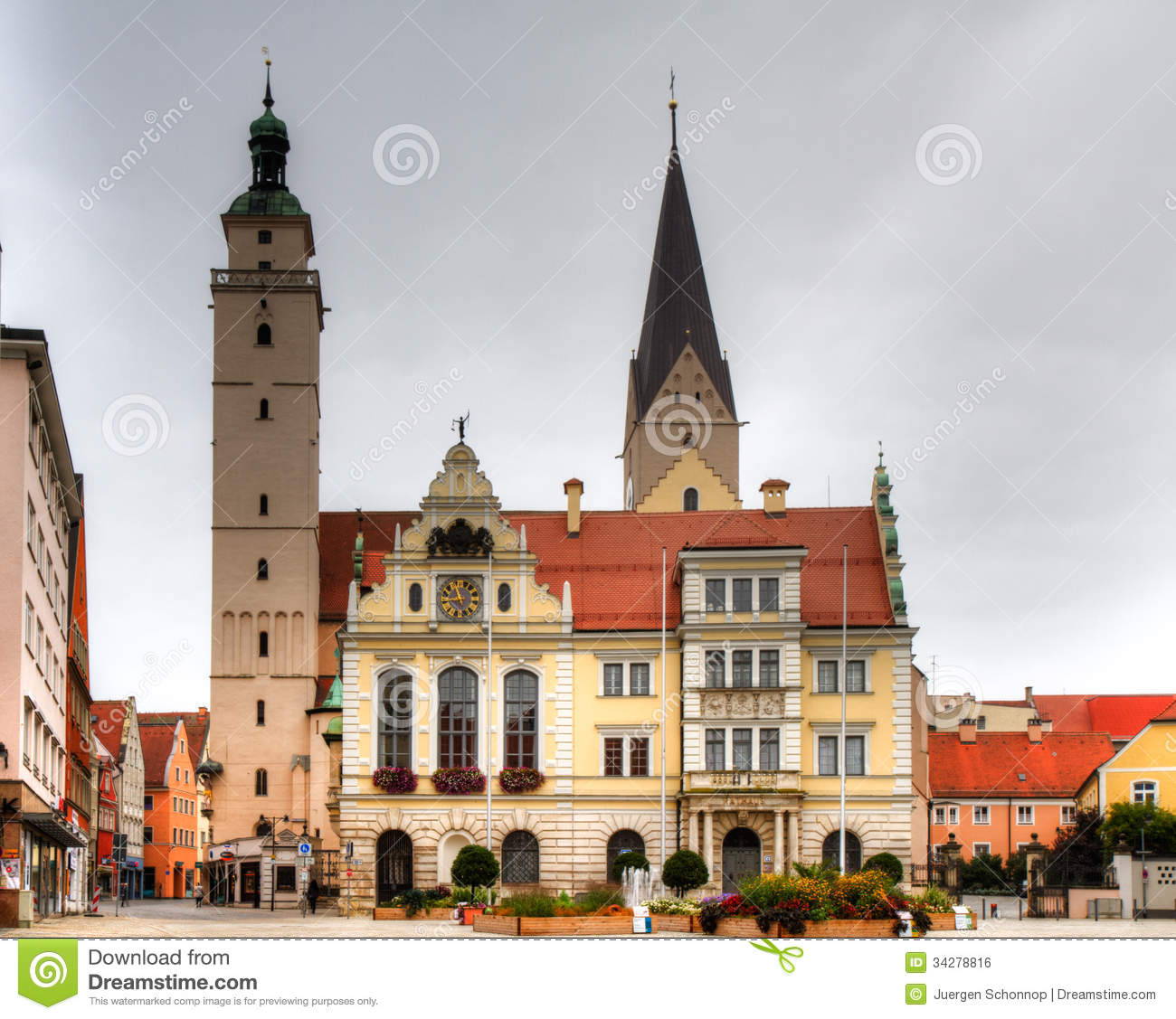 Town Hall And Market Church Of Ingolstadt Royalty Free Stock Image.