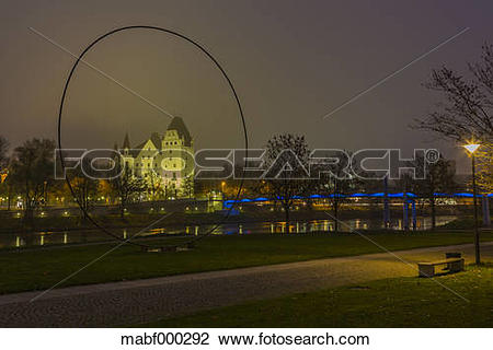 Stock Photo of Germany, Bavaria, Ingolstadt, view to lighted New.