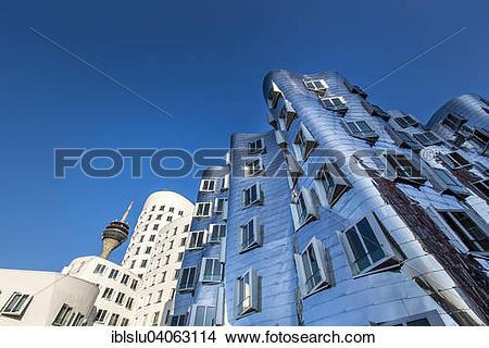 "Stock Photo of ""Neuer Zollhof or Gehry Bauten buildings, Media."