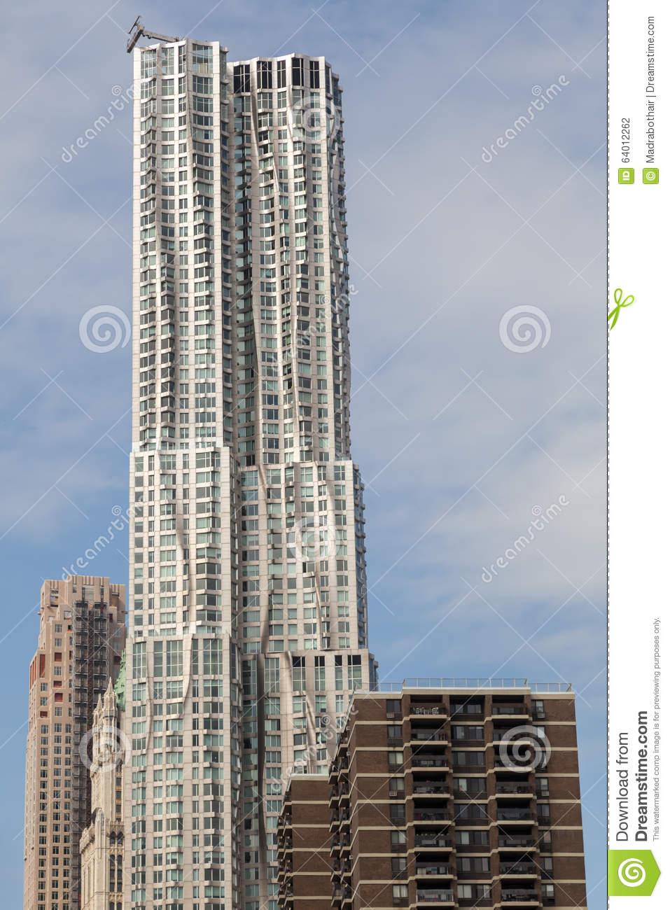 Skyscraper 8 Spruce Street Designed By Frank Gehry In Manhattan.