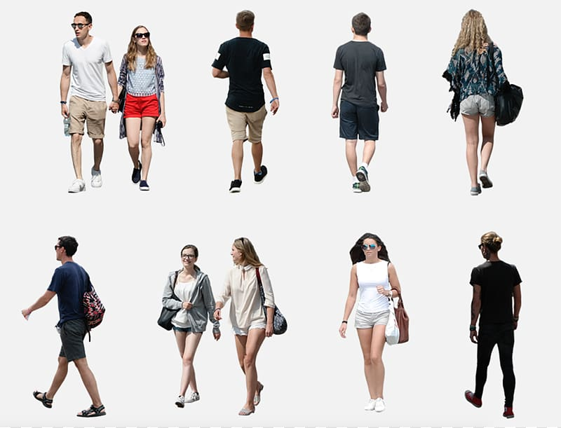 People collage with white background, Visualization.