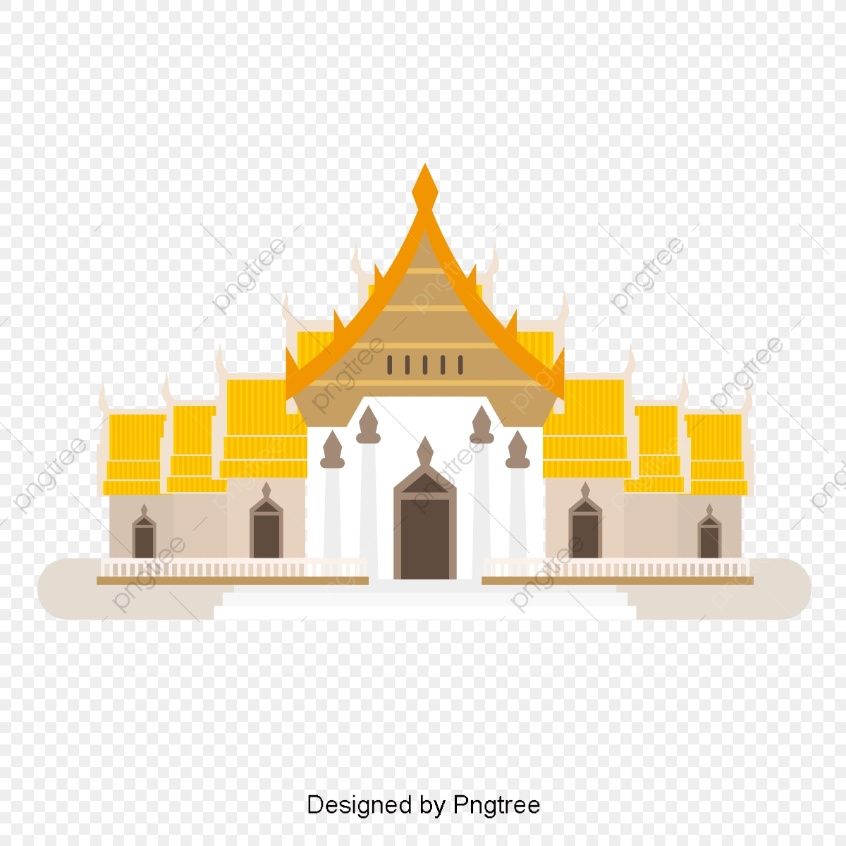 Thailand Architecture Temple, Cartoon, Thailand Style, Buildings PNG.