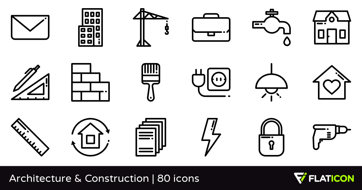Architecture & Construction 80 free icons (SVG, EPS, PSD, PNG files).
