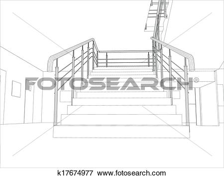 Clip Art of Room. Staircase and railing k17674977.