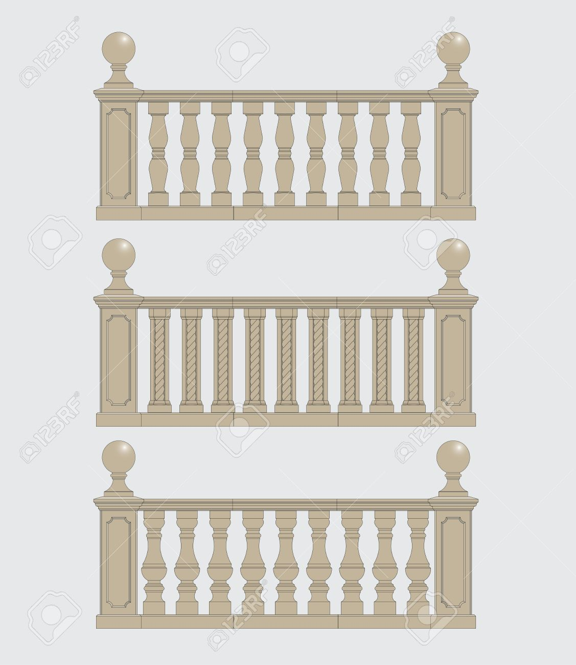 Set Of Architectural Element Balustrade, Vector Royalty Free.