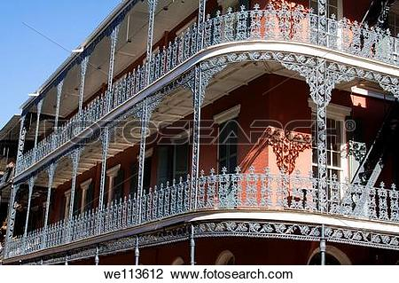 Stock Photo of Ornate wrought iron balcony railing of the Royal.