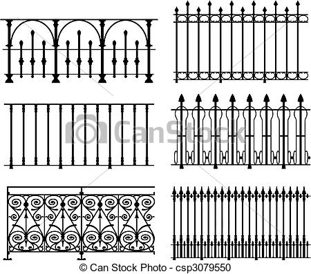 Vector Clipart of Railings and fences.
