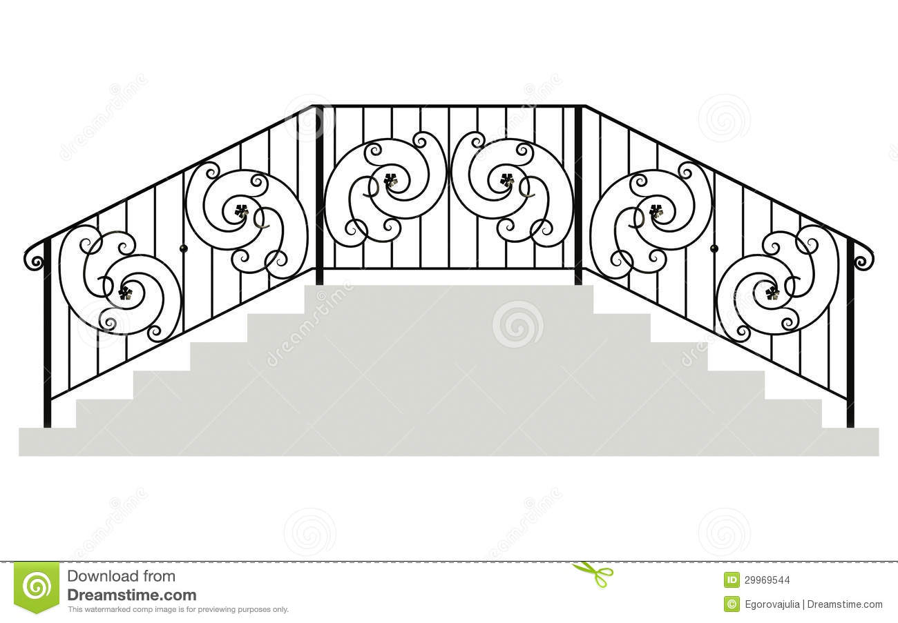 Wrought Iron Stairs Railing Stock Images.