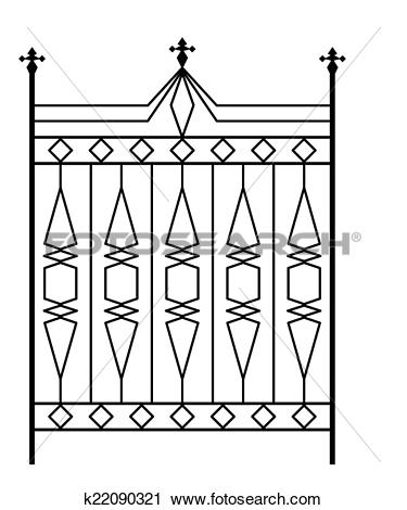 Clipart of Wrought Iron Gate, Door, Fence, Window, Grill, Railing.