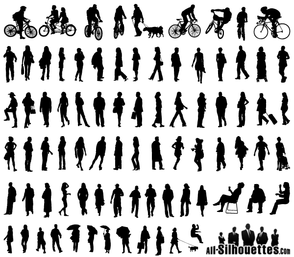 Free Vector Silhouettes of People Standing, Sitting, Walking.