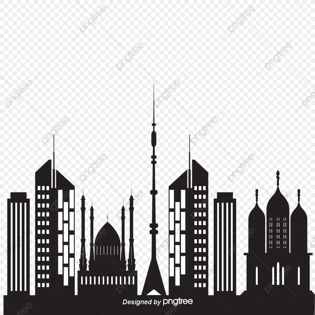 Architecture Banner Buildings City Silhouette, Black, Hand Painted.