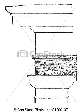 Stock Illustration of Architrave, vintage engraving..