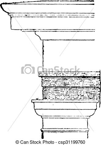 Clip Art Vector of Architrave, vintage engraving..