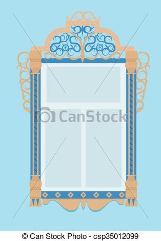 EPS Vectors of window with architraves, typical of Russian culture.