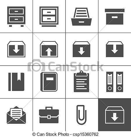Clip Art Vector of Archive icons.