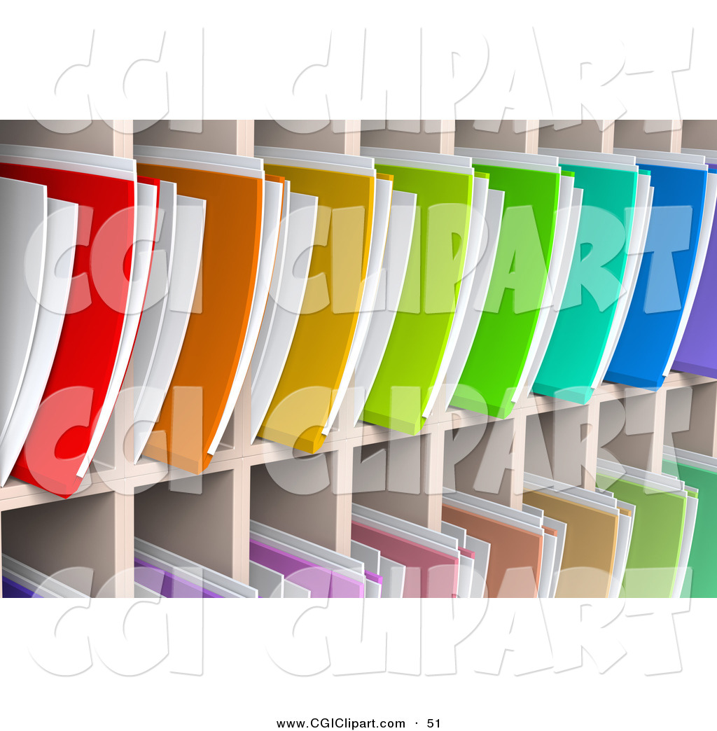 Clip Art of a Wall of Colorful Rainbow 3d File Folders and.
