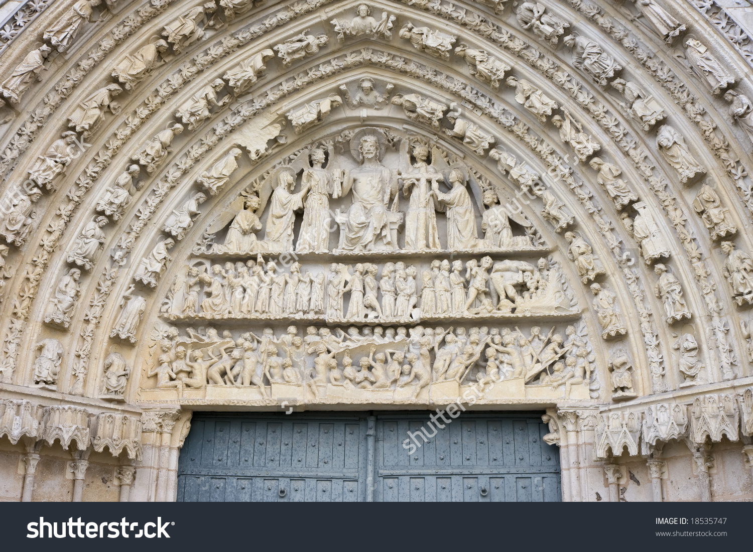 The Cathedral Of Saint Pierre, Poitiers, France. Tympanum And.