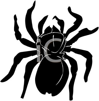 Picture of a Black Spider In a Vector Clip Art Illustration.
