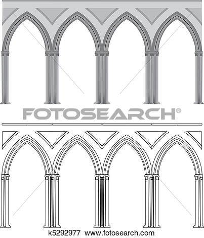 Clip Art of Gothic arch and column k5292977.