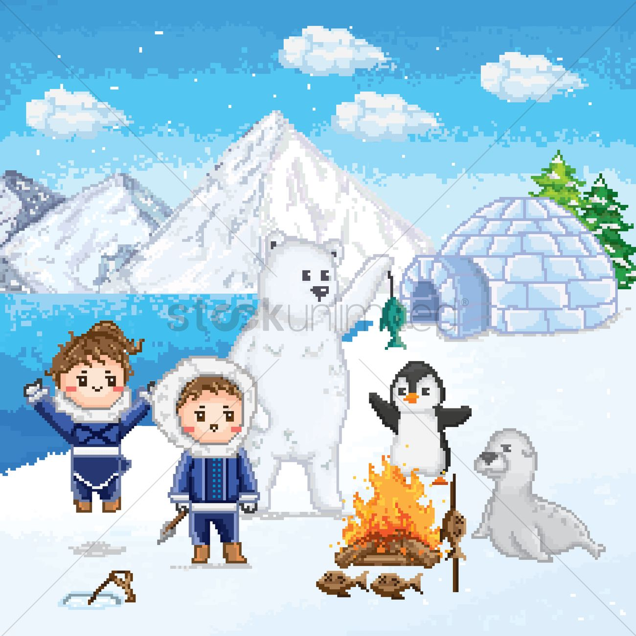 Eskimos with animals in the artic Vector Image.