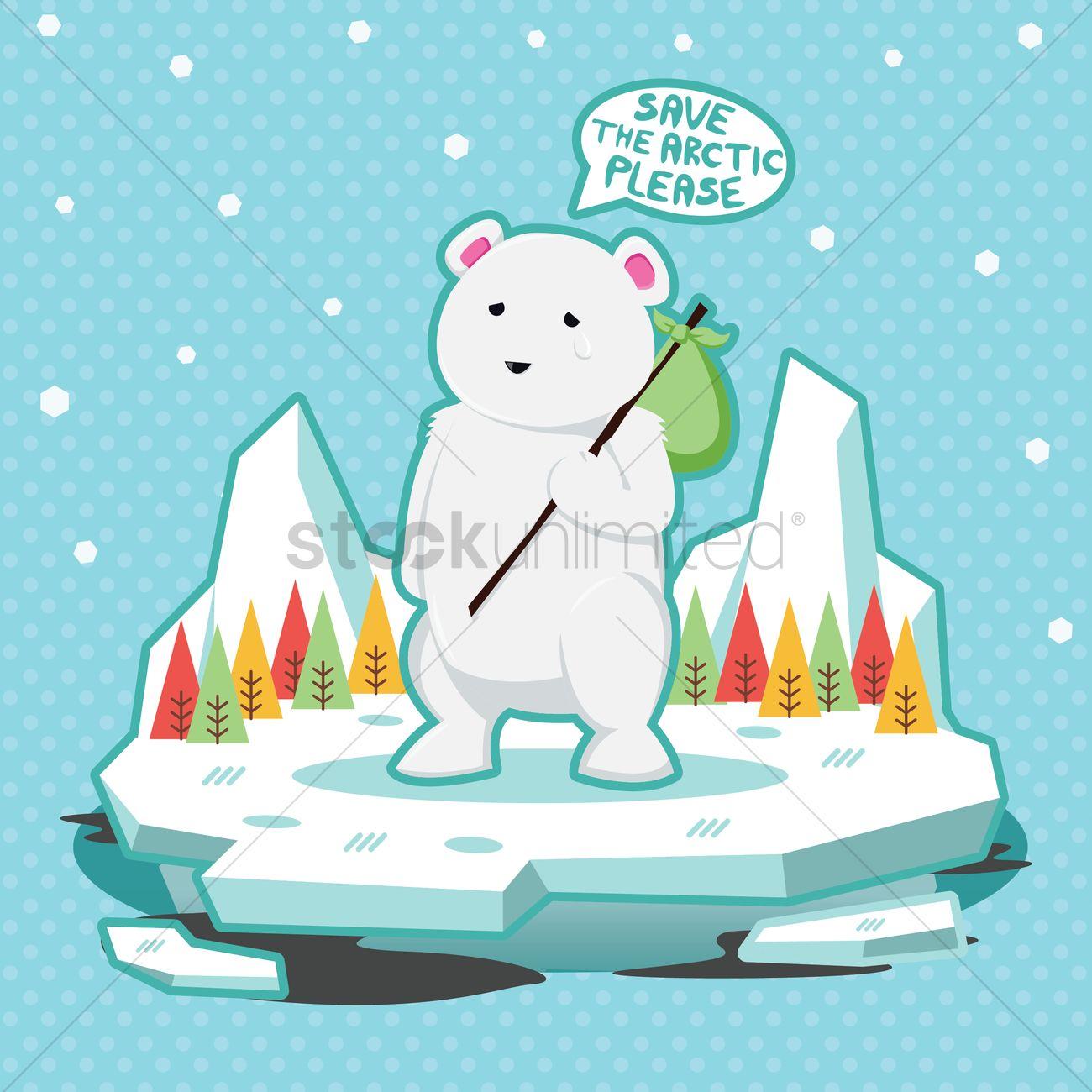 Global warming concept with polar bear Vector Image.