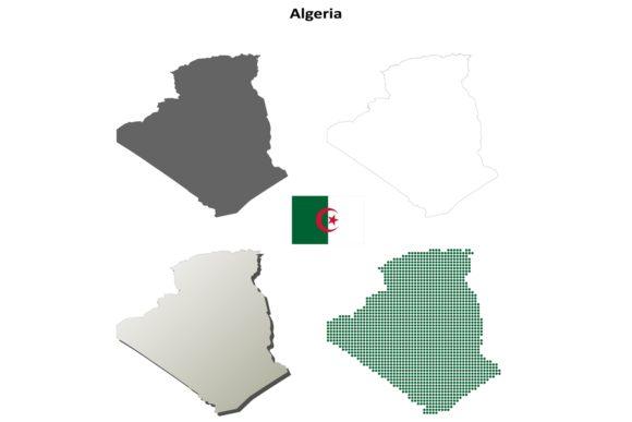 Algeria Outline Map Set.