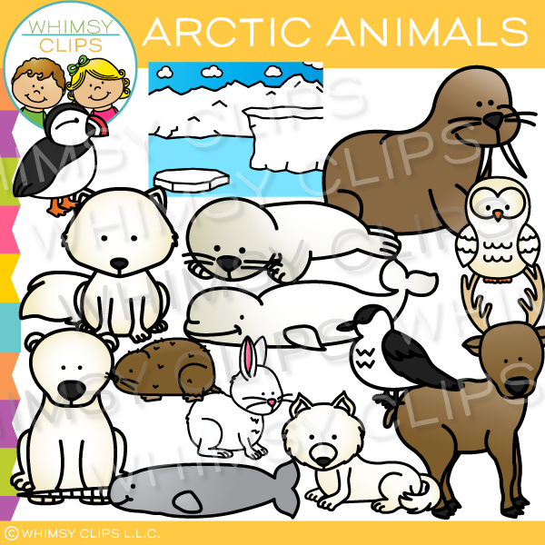 Cute Arctic Animals Clip Art.