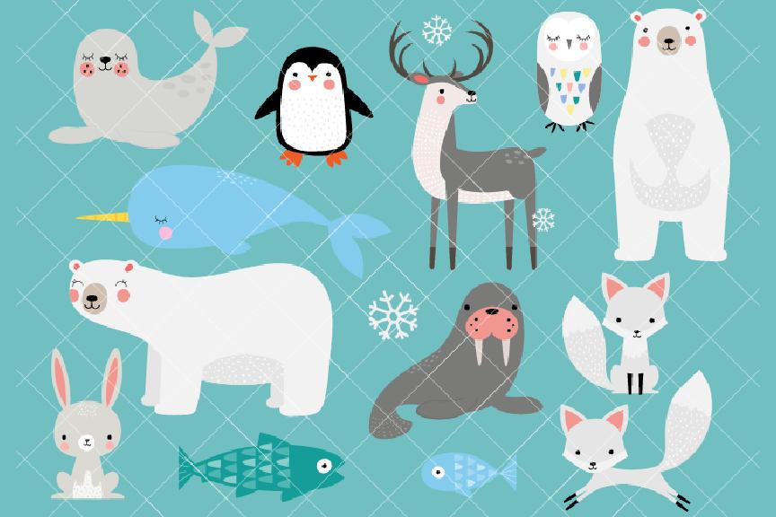 Arctic Animals Clipart, Winter Animals Clipart.
