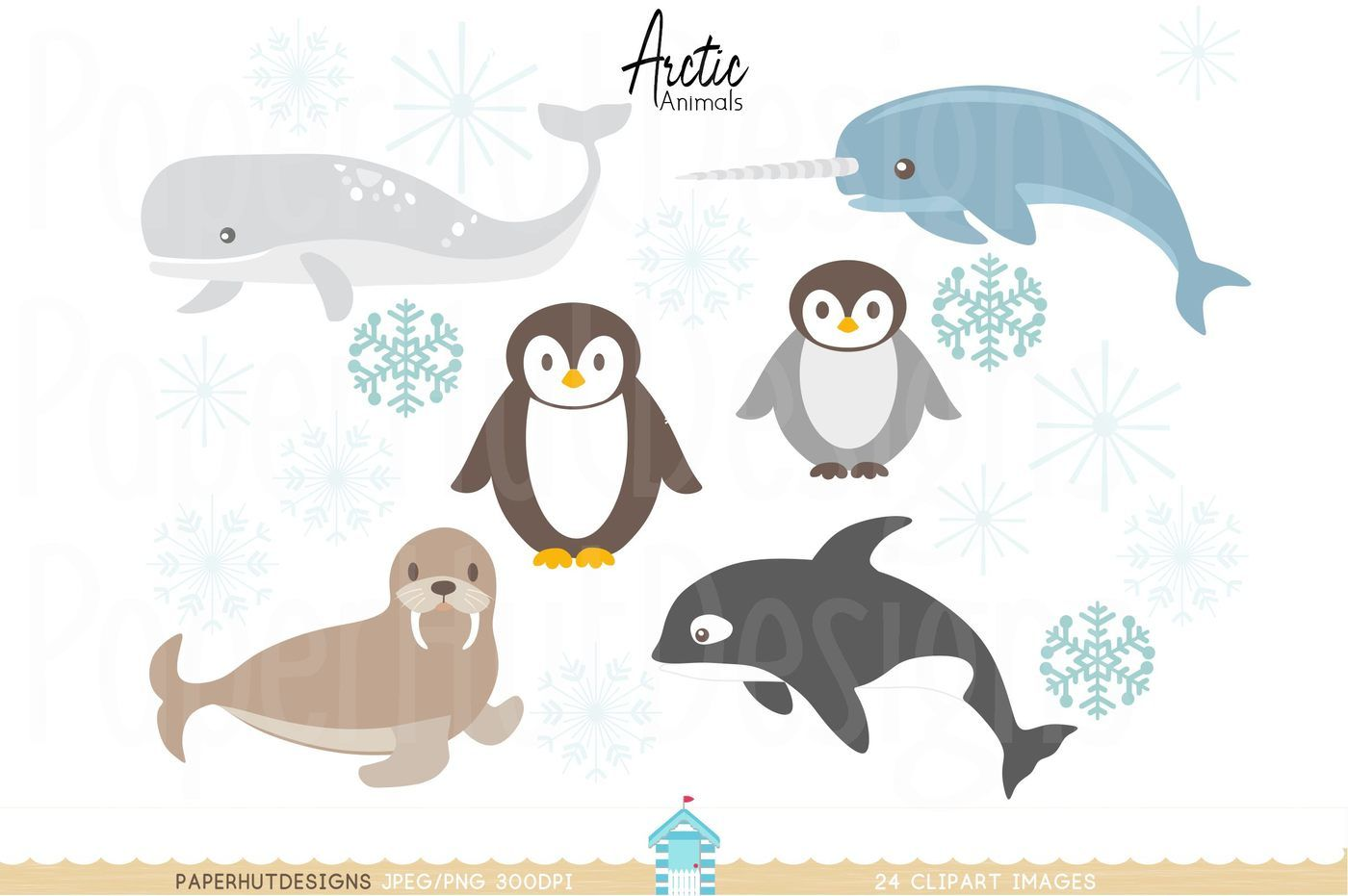 Arctic Animals Clipart By PaperHutDesigns.
