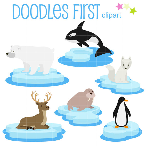 Arctic Animals on Ice Clip Art for Scrapbooking Card Making.