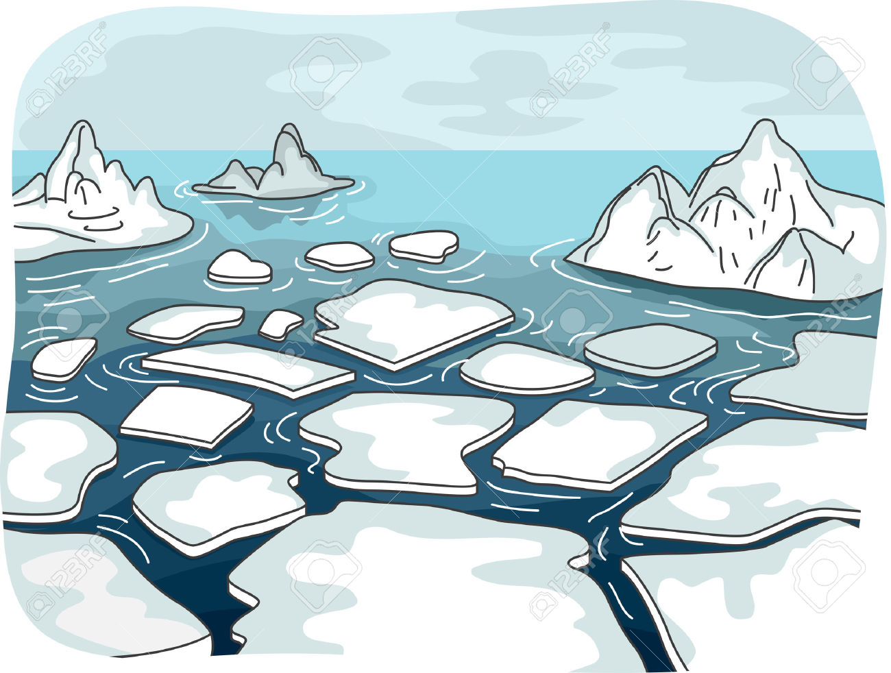 Illustration Featuring Melted Glaciers Drifting In The Middle.