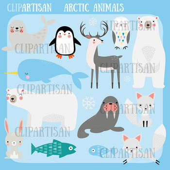 Arctic Animals Clip Art, Polar Animals.