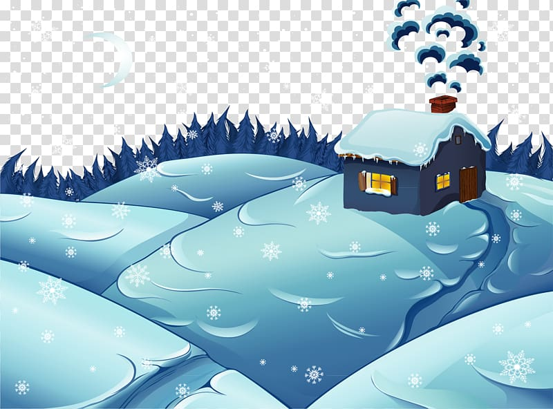 Snow Winter Illustration, Winter cabin transparent.