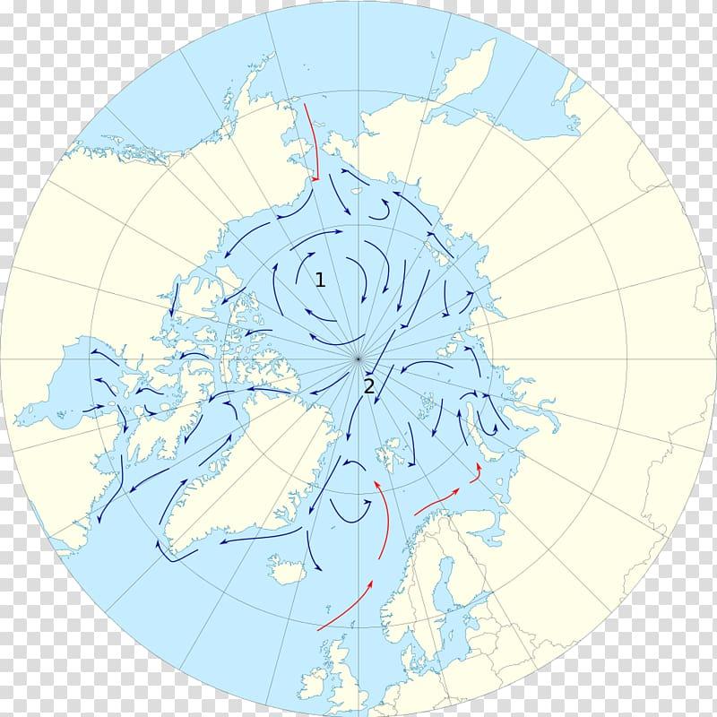 Arctic Ocean Arctic Circle Map Ocean current, map.