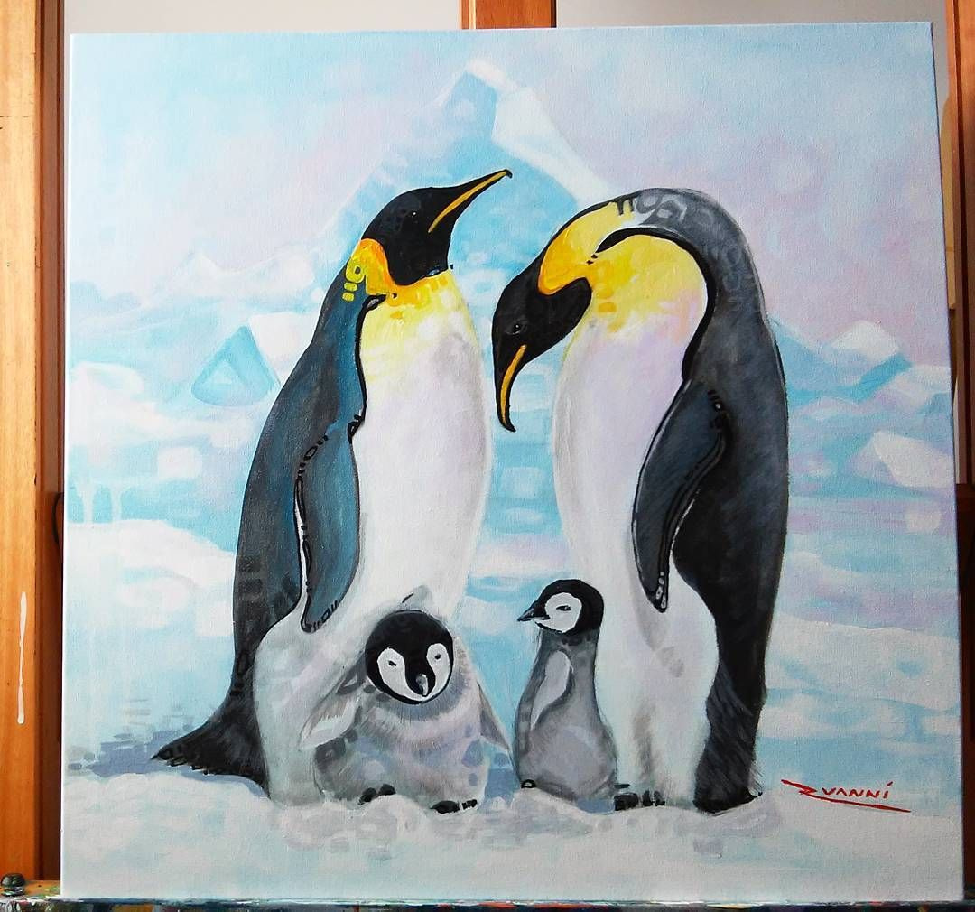 Emperor Penguins Family #Acrylics on #canvas #painting.