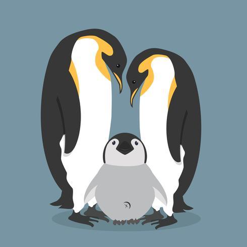 Cartoon happy Penguins family.