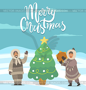 Merry Christmas Arctic People with Pine Tree Card.