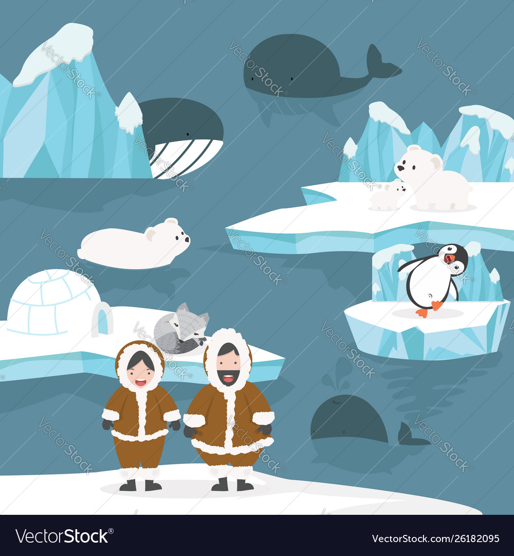 Animals and people arctic cartoon background.