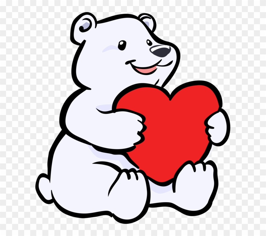 Vector Illustration Of Arctic Polar Bear With Valentine\'s.