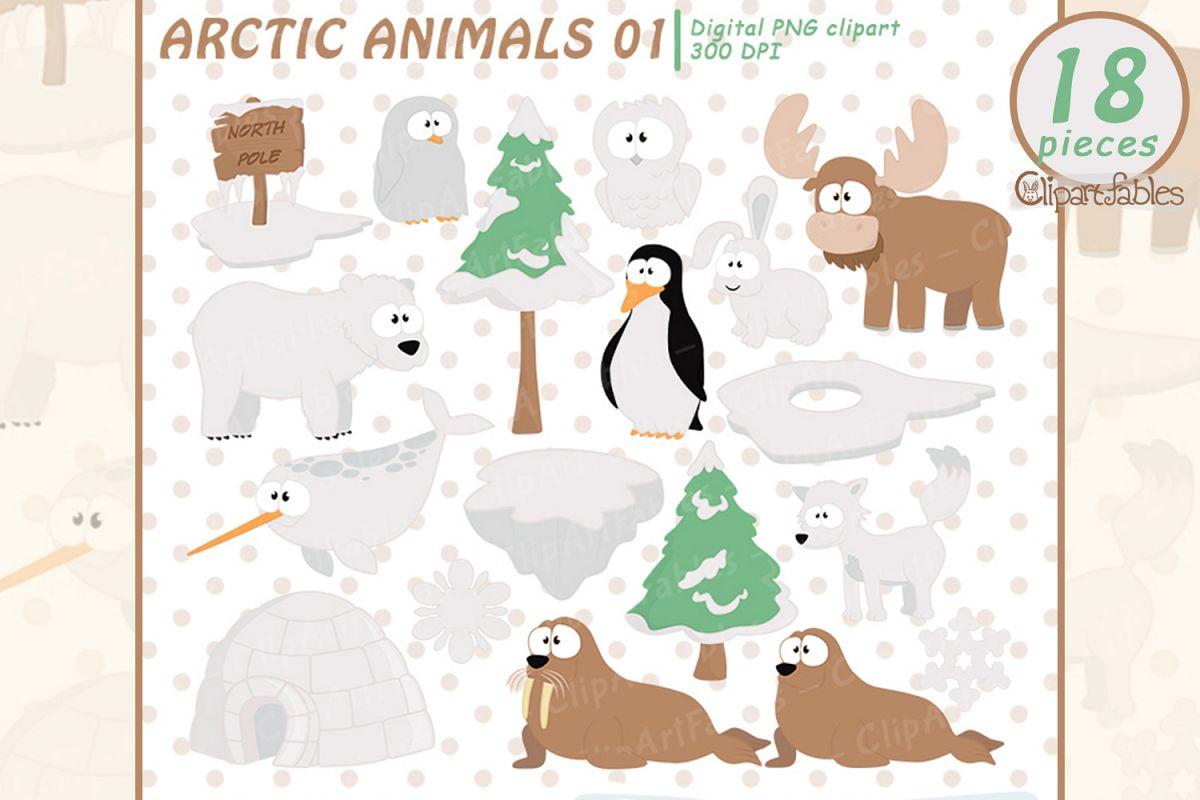 Cute ARCTIC Animal clipart, North pole and sea, polar art.